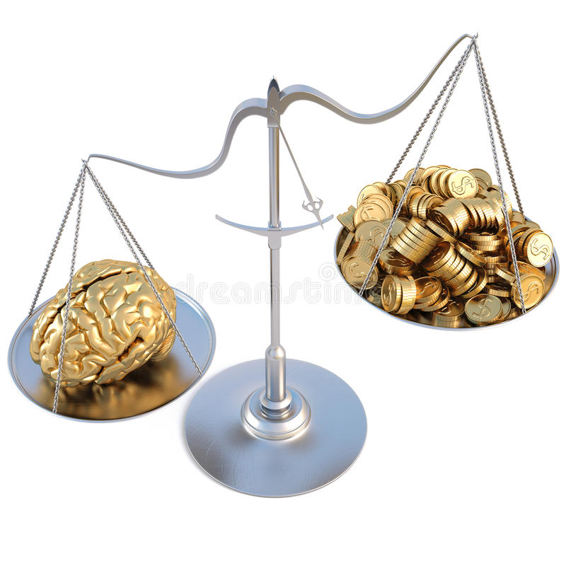 Scale. Golden brains outweigh the pile of gold coins on the scale. isolated on white vector illustration
