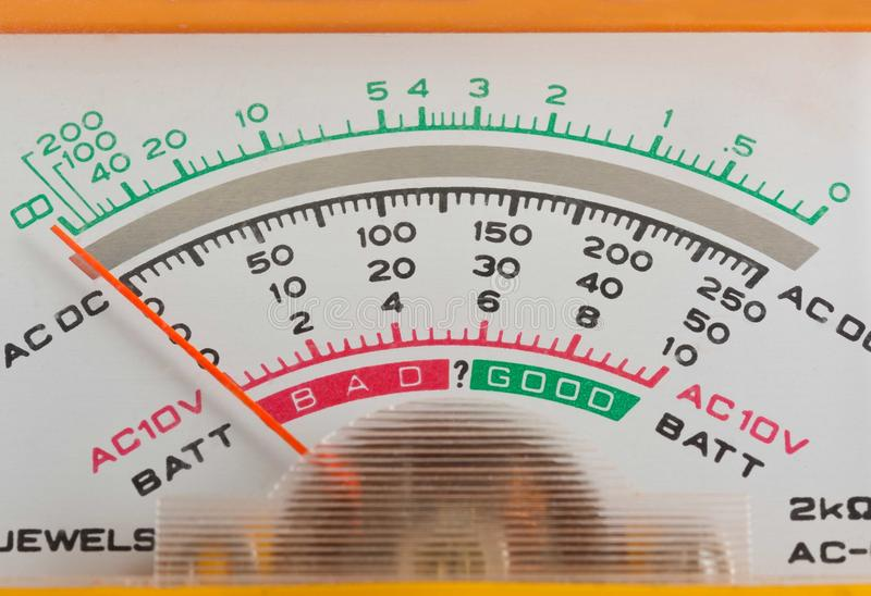 Scale analog multimeter. The Scale analog electronic voltmeter close-up stock images