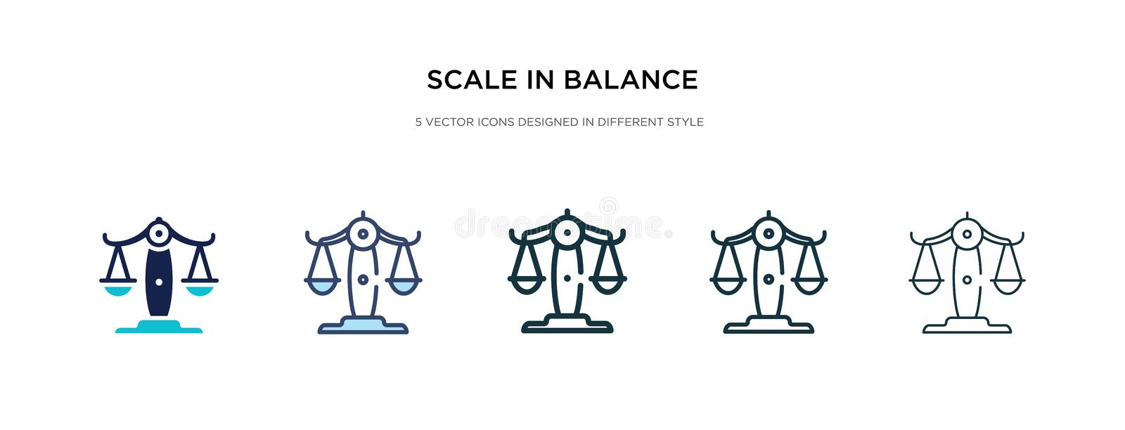 Scale in balance icon in different style vector illustration. two colored and black scale in balance vector icons designed filled. Outline, line and stroke vector illustration
