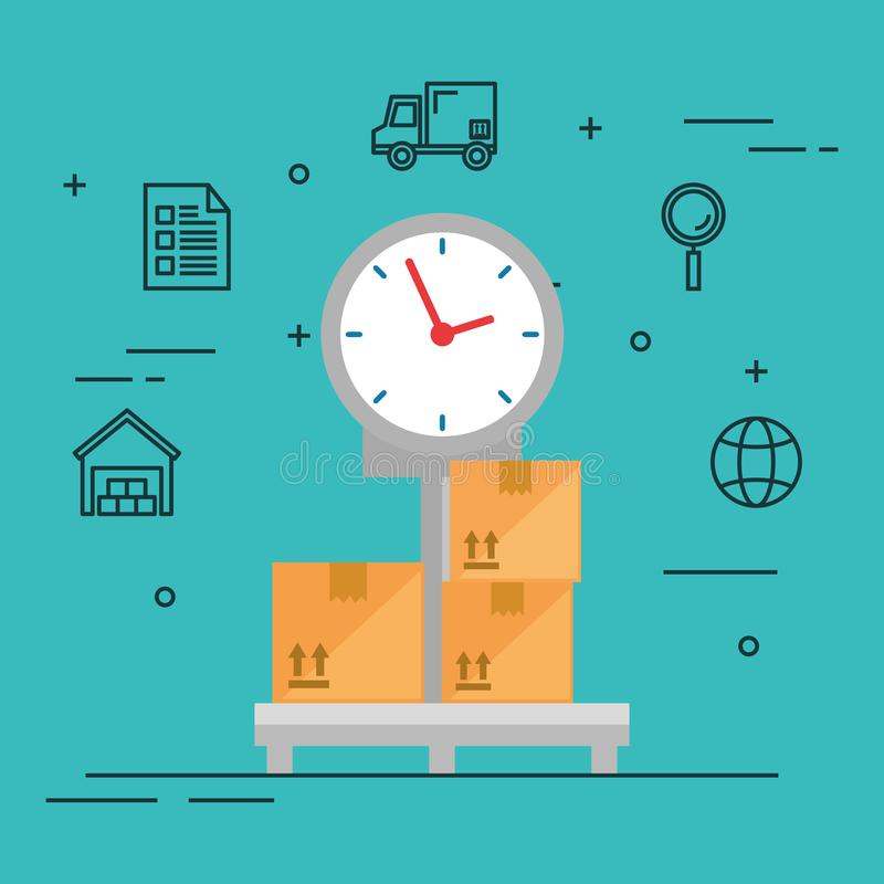 Scale balance logistic service royalty free illustration