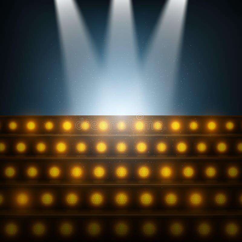 Scale con i riflettori alla fase illuminata illustrazione di stock