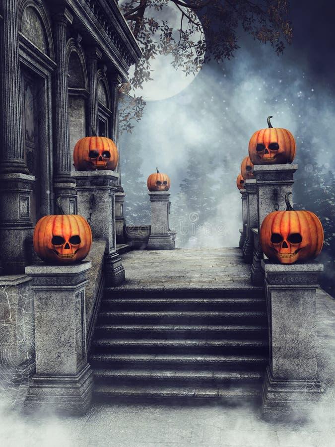 Scale con le zucche di Halloween illustrazione di stock