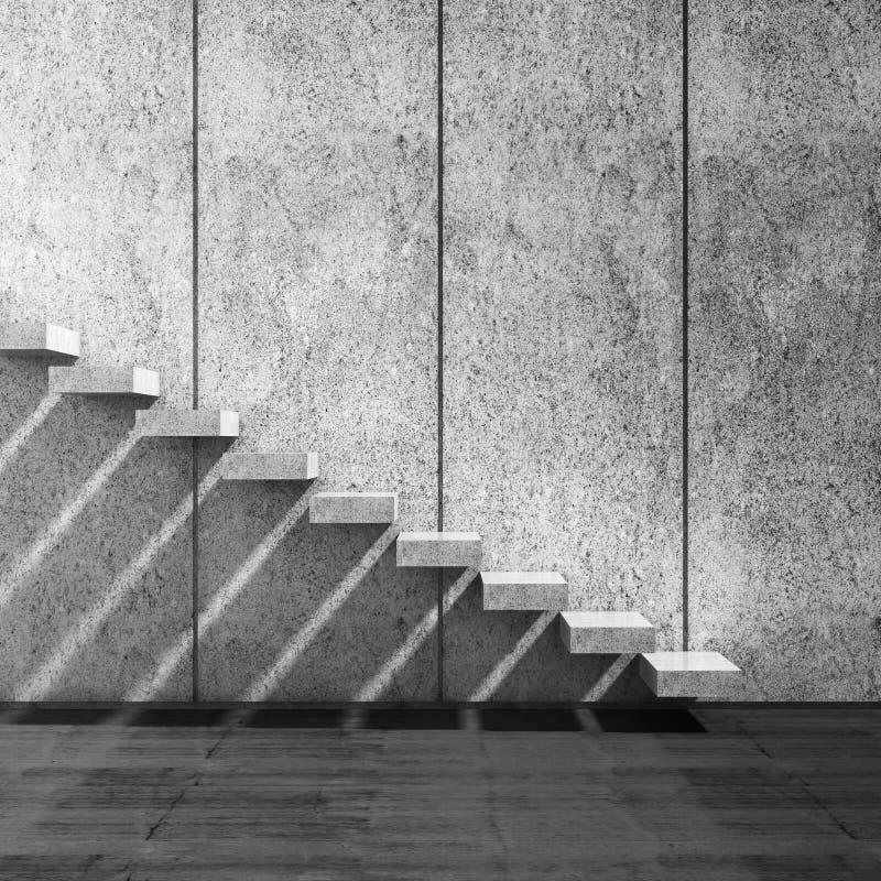Scale concrete sopra la parete 3d rendono l'illustrazione illustrazione di stock