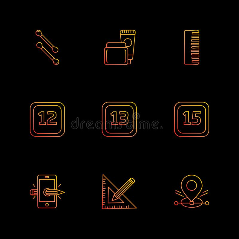 Scale , cotton buds , smart phone , calender , months , cosmetic. S , household , year , dates , countinng , washroom , items ,icon, vector, design, flat royalty free illustration