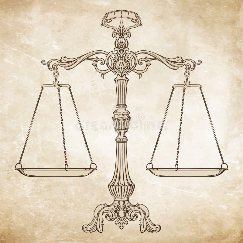 Scale decorate dell'equilibrio dell'oggetto d'antiquariato dell'illustrazione di vettore sul fondo di lerciume illustrazione vettoriale