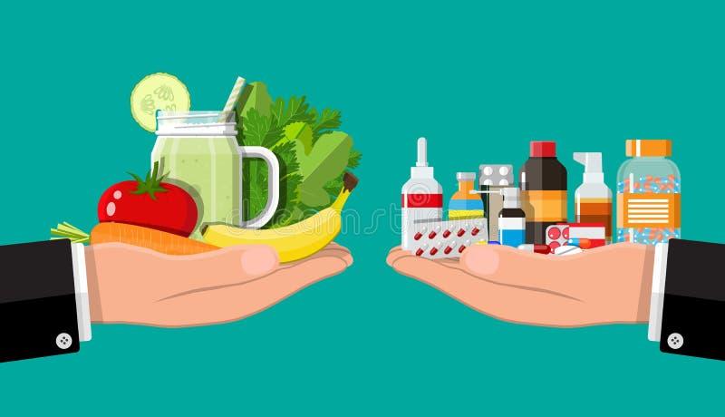 Scale delle mani con le verdure e le droghe illustrazione di stock