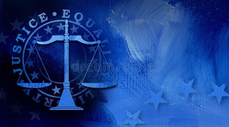 Scale di giustizia giudiziaria con il fondo astratto grafico di Liberty Seal e di uguaglianza illustrazione vettoriale