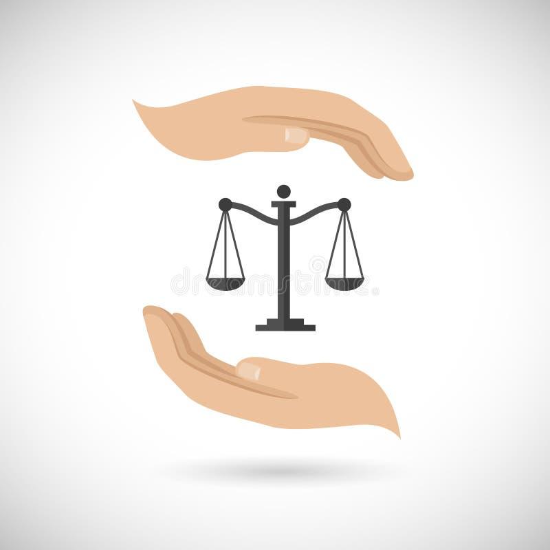 Scale di legge della tenuta delle mani illustrazione di stock