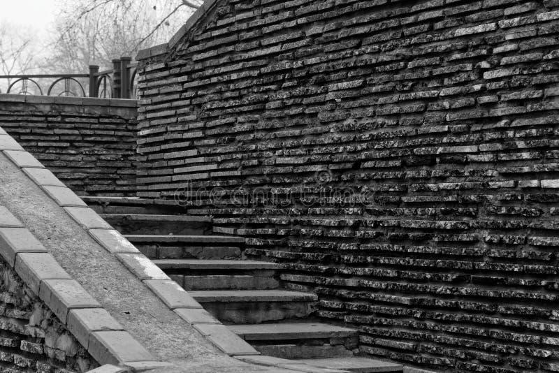 Scale di lerciume del mattone e parete di pietra monocromatiche della roccia fotografia stock libera da diritti