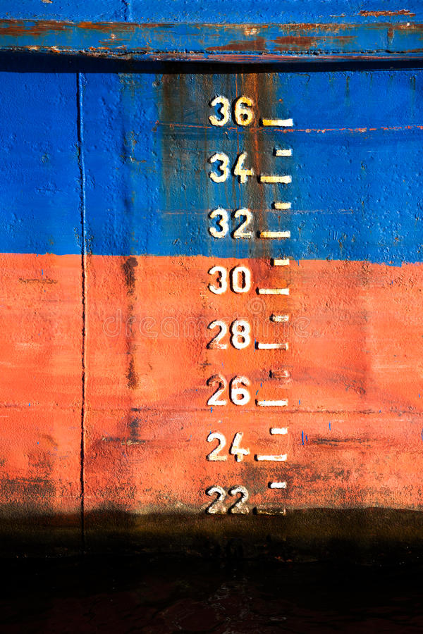 The scale of draft on the ship royalty free stock images