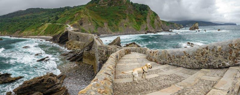 Scale e cane nell'ampio panorama di San Juan de Gaztelugatxe fotografia stock