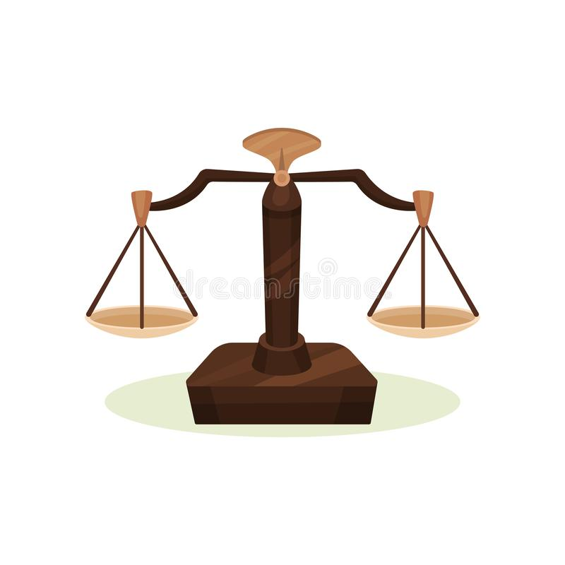 Scale equilibrate farmaceutiche Attrezzatura di pesatura d'annata Dispositivo per misurare peso degli ingredienti medici Vettore  illustrazione di stock