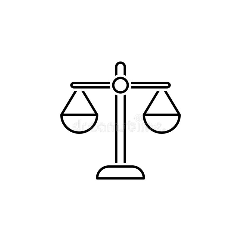 Scale icon. Element of legal services thin line icon. On white background royalty free illustration