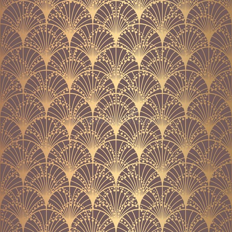 Scale irregolari di Art Deco Pattern Golden Background royalty illustrazione gratis