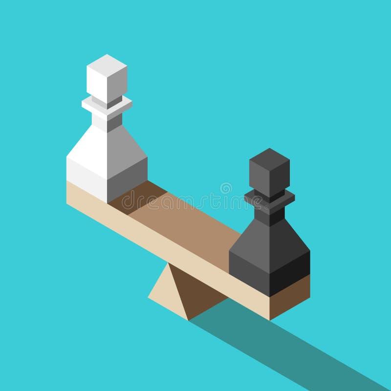 Scale isometriche con i pegni illustrazione di stock