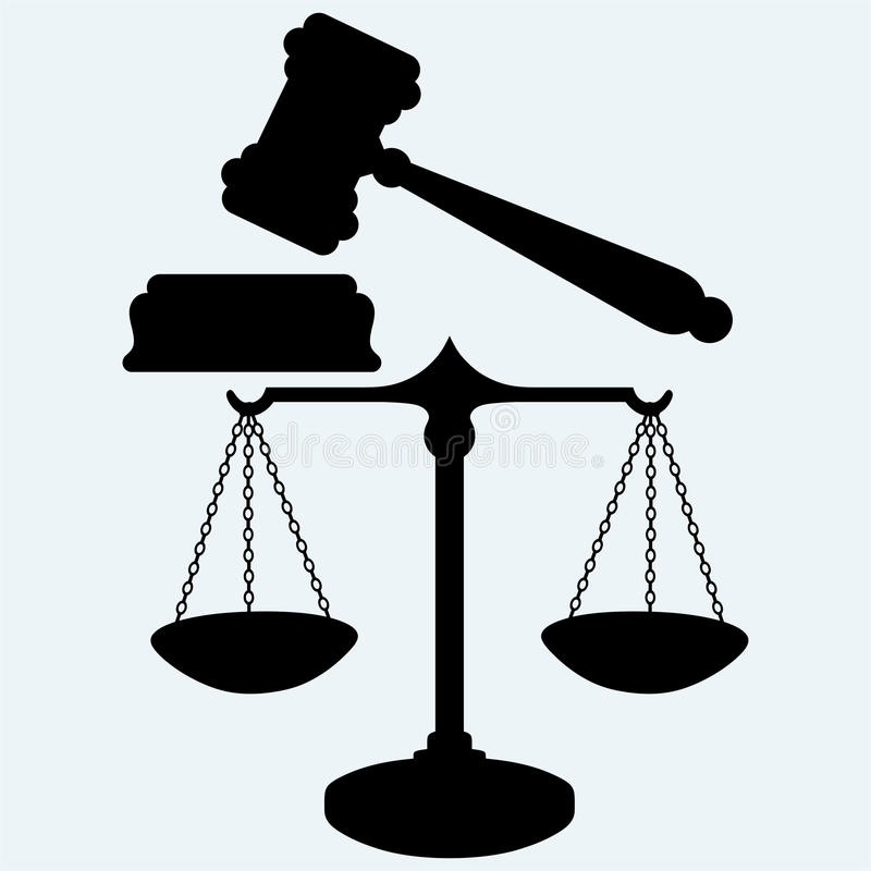 Scale and judge gavel. Isolated on blue background. Vector silhouettes vector illustration