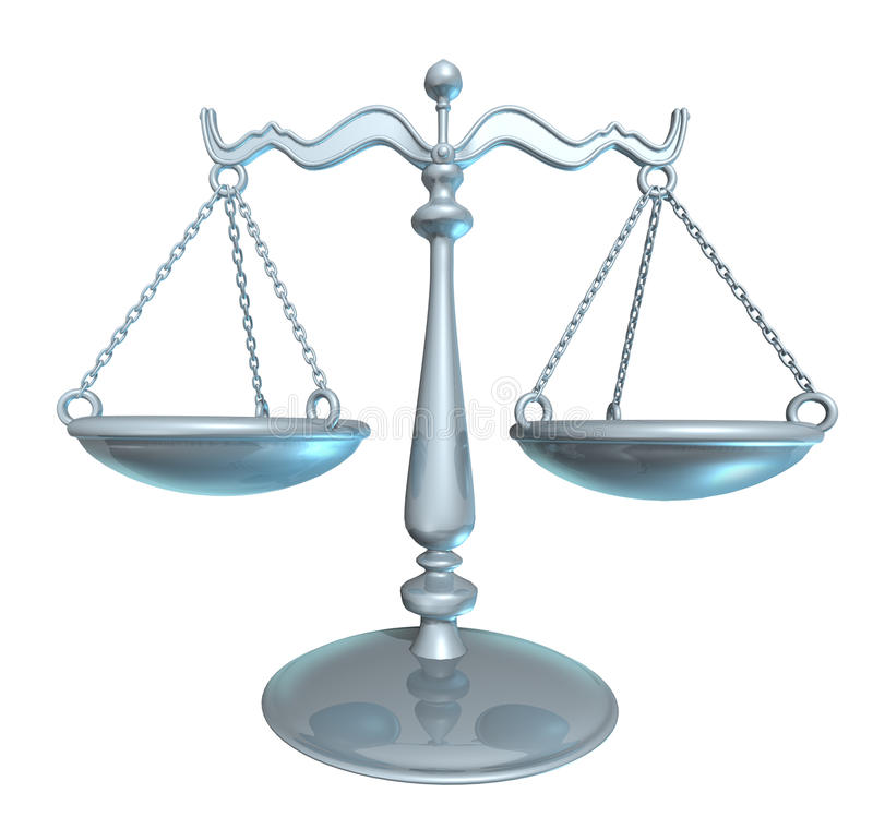 Scale of justice. Law lawyer scale (clipping path included royalty free illustration