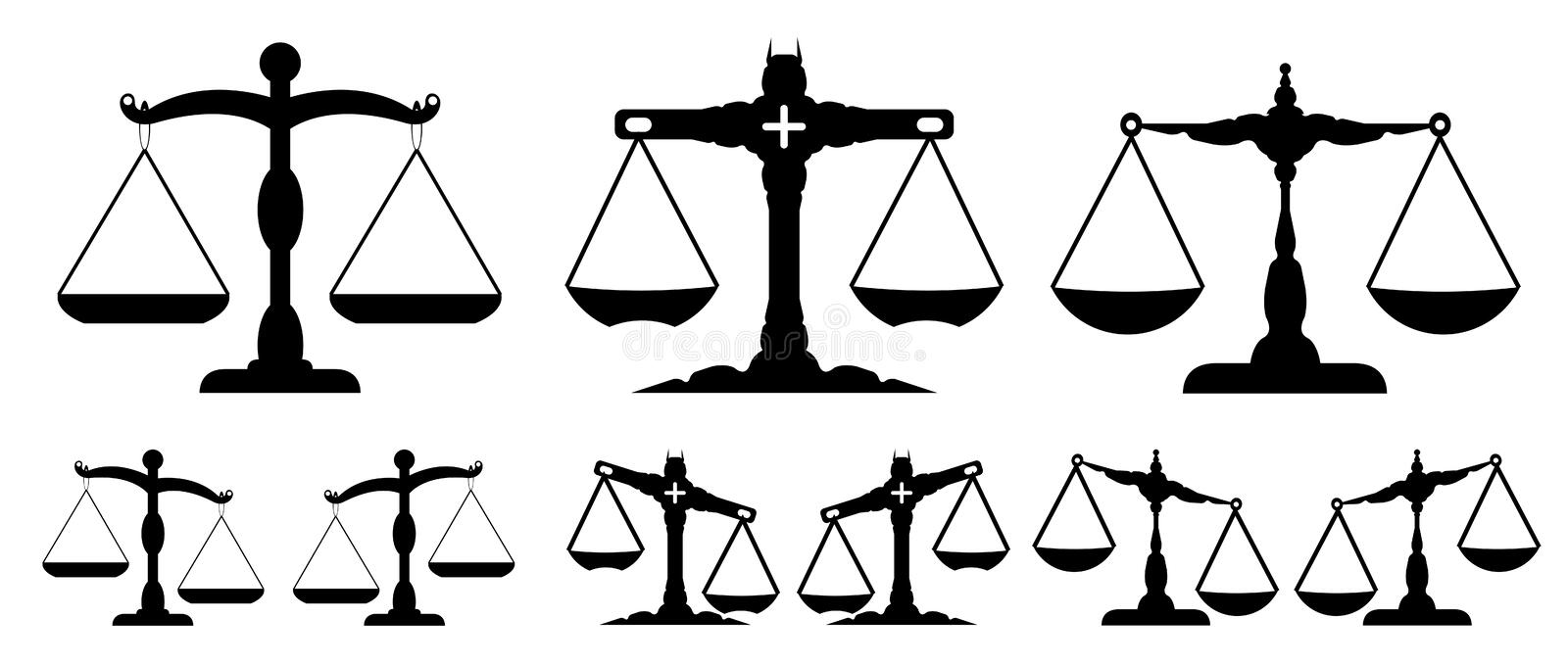 The scale of justice. Black scale on the white background
