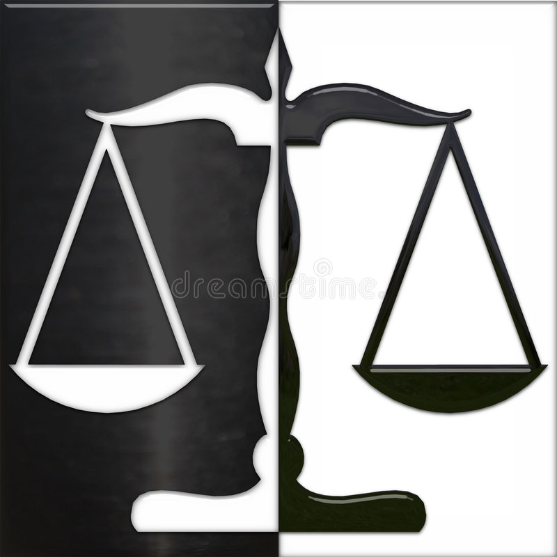 Scale of Justice black and white stock illustration