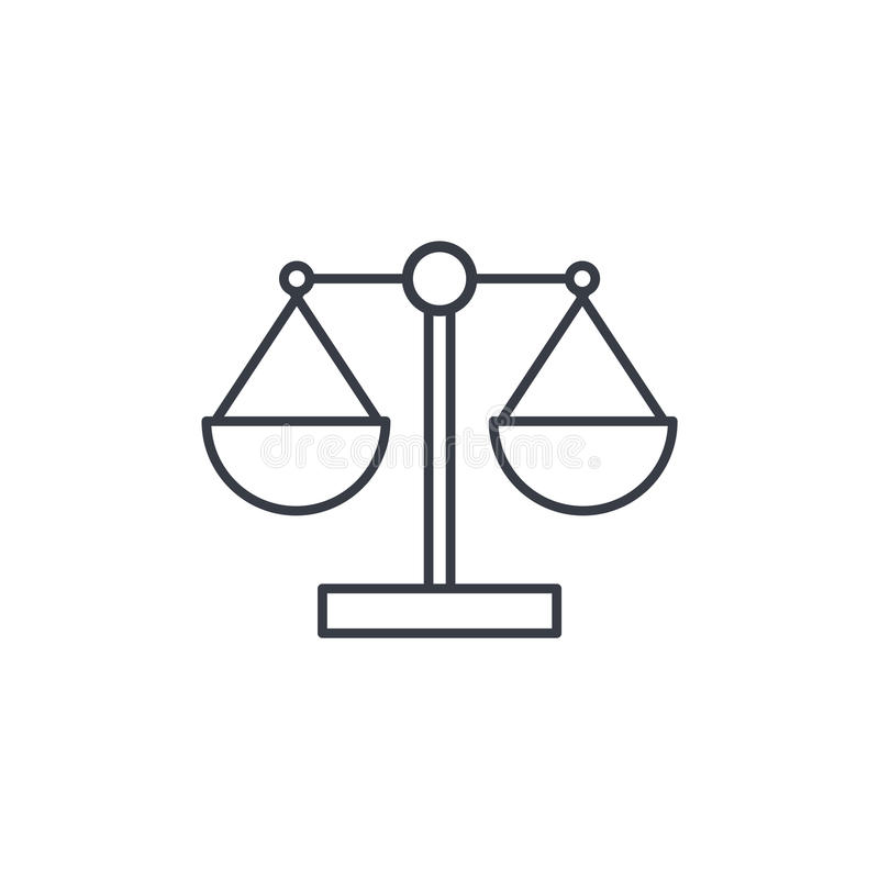 Justice and law symbol, scales thin line icon. Linear vector symbol royalty free illustration