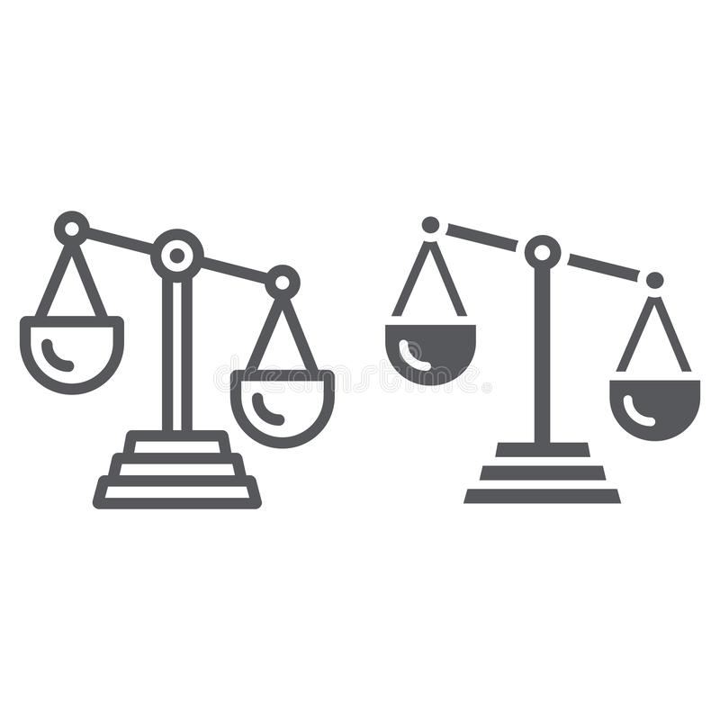 Scale of justice line and glyph icon, law and scale, balance sign, vector graphics, a linear pattern on a white stock illustration