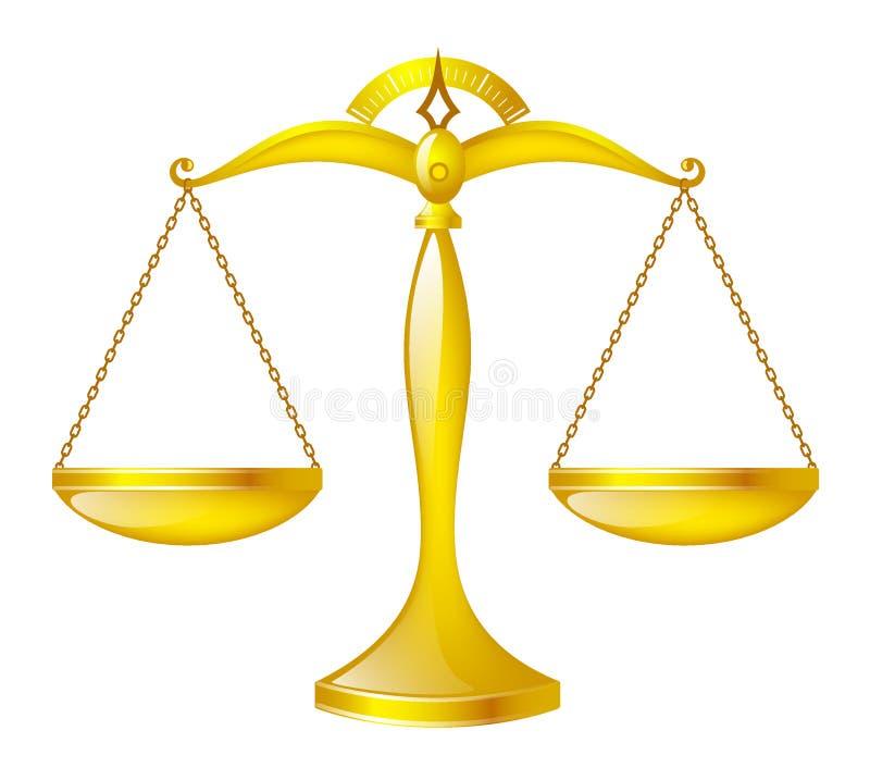 Scale lucide dell'oro, bilancia della giustizia fotografie stock
