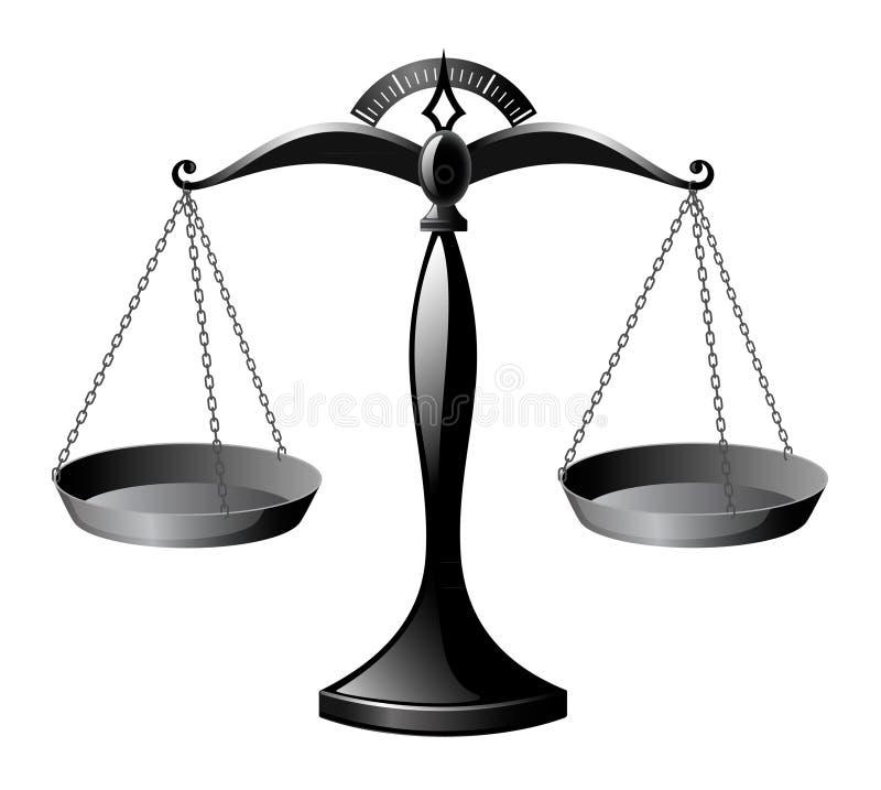 Scale lucide nere, bilancia della giustizia immagine stock