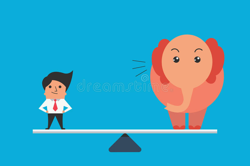 Scale of man. Cute character of businessman standing balance with big elephant, business concept in one person can equal or compare to big mass as elephant. Flat vector illustration