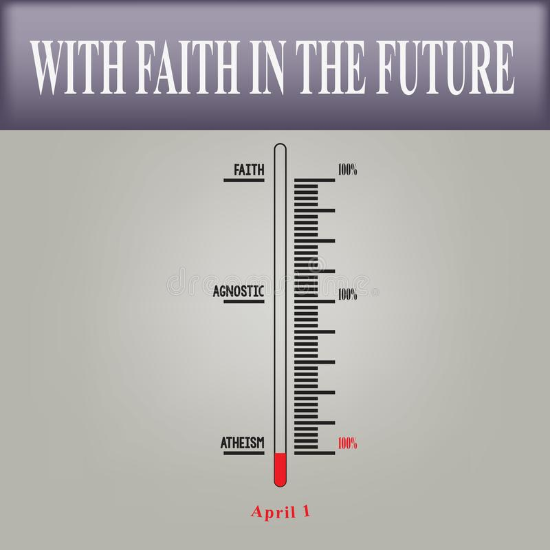 National Day Atheist. Scale measurement faith to National Day Atheist. With faith in the future stock illustration