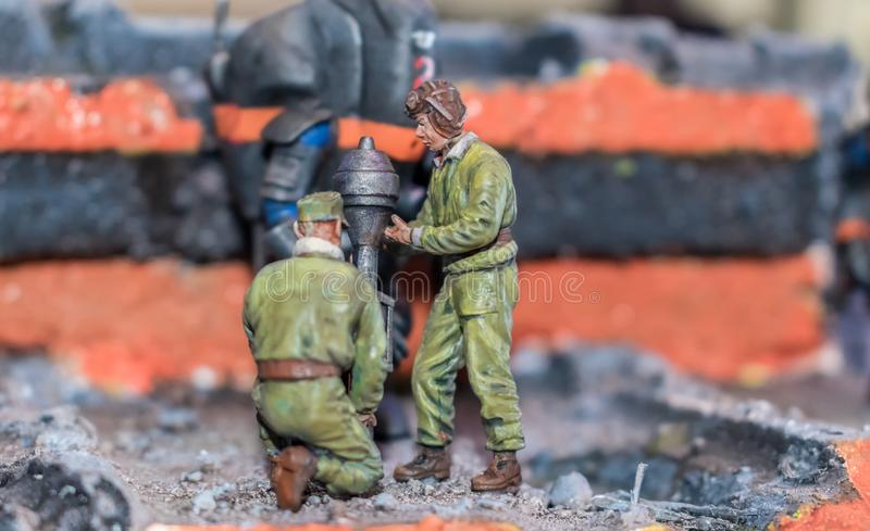 Scale miniature model of two soldiers stock photos