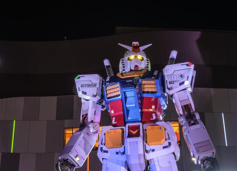 The 1:1 scale mobile suit Gundam. Tokyo, Janpan - January 06, 2015: The 1:1 scale mobile suit Gundam RX78-2 which is 18 metres high. It is located in front of royalty free stock image