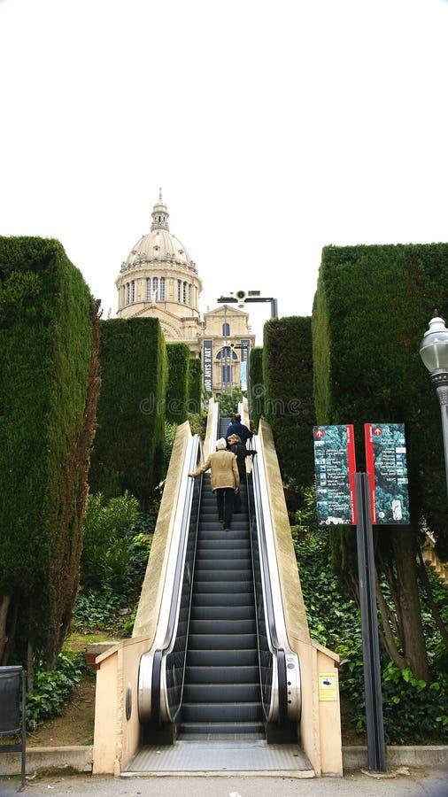 Scale mobili in Montjuic fotografia stock libera da diritti