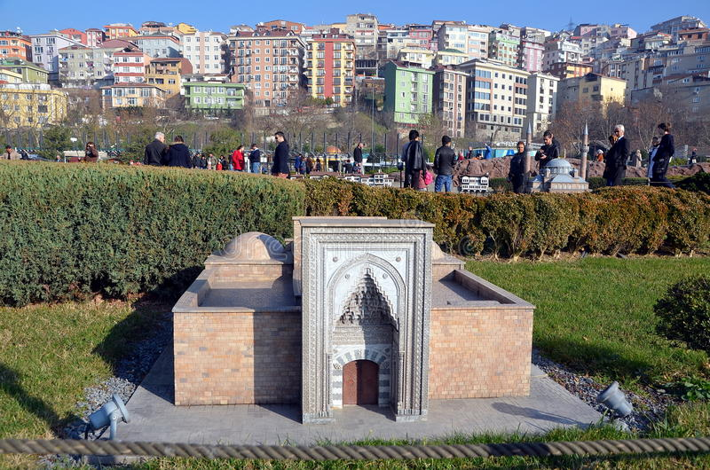 Scale model of Ð¡ifte Minareli Medrese. ISTANBUL, TURKEY - DEC 27, 2015 - Scale model of Ð¡ifte Minareli Medrese at Miniaturk park in Istanbul, the largest royalty free stock photo