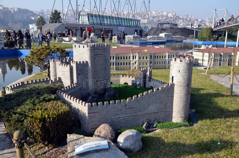 Scale model of Anadoluhisarı Anatolian Castle. ISTANBUL, TURKEY - DEC 27, 2015 - Scale model of Anadoluhisarı Anatolian Castle at Miniaturk park in stock images