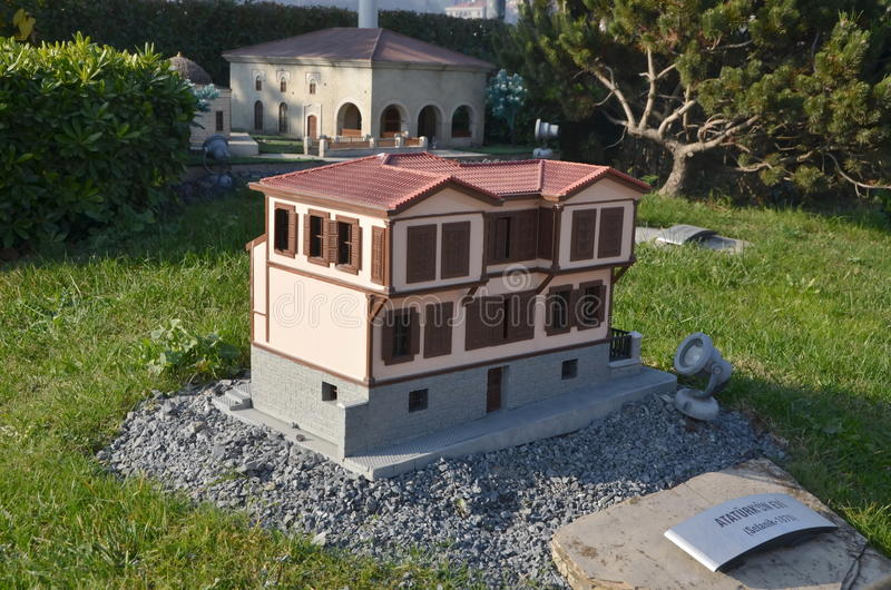 Scale model of Ataturk House. ISTANBUL, TURKEY - DEC 27, 2015 - Scale model of Ataturk House at Miniaturk park in Istanbul, the largest miniature park in the royalty free stock photography