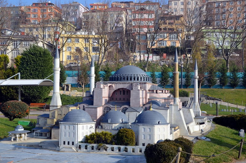 Scale model of the Ayasofia mosque. ISTANBUL, TURKEY - DEC 27, 2015 - Scale model of the Ayasofia mosque at Miniaturk park in istanbul, the largest miniature royalty free stock photo