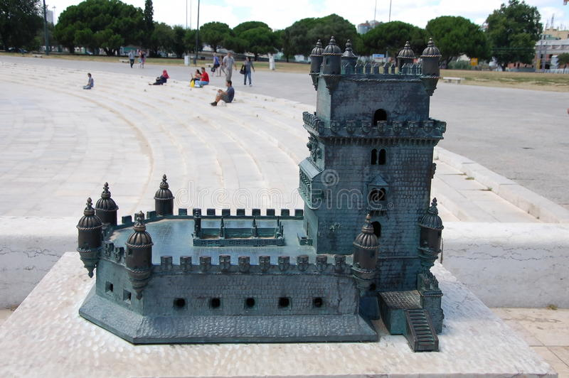 Scale model of Belem tower stock photo