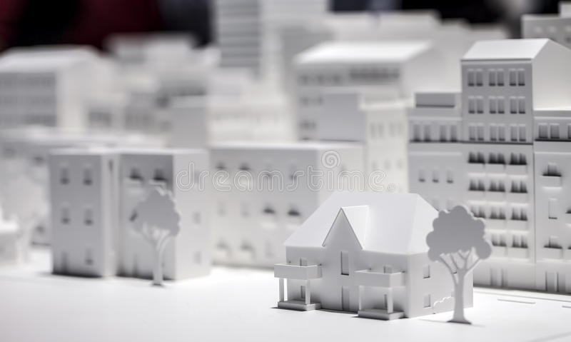 Scale Model Building. Creation photo stock photo