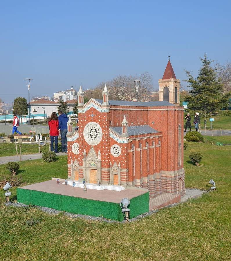 Scale model of Church of St. Anthony of Padua. ISTANBUL, TURKEY - DEC 27, 2015 - Scale model of Church of St. Anthony of Padua at Miniaturk park in istanbul, the royalty free stock image