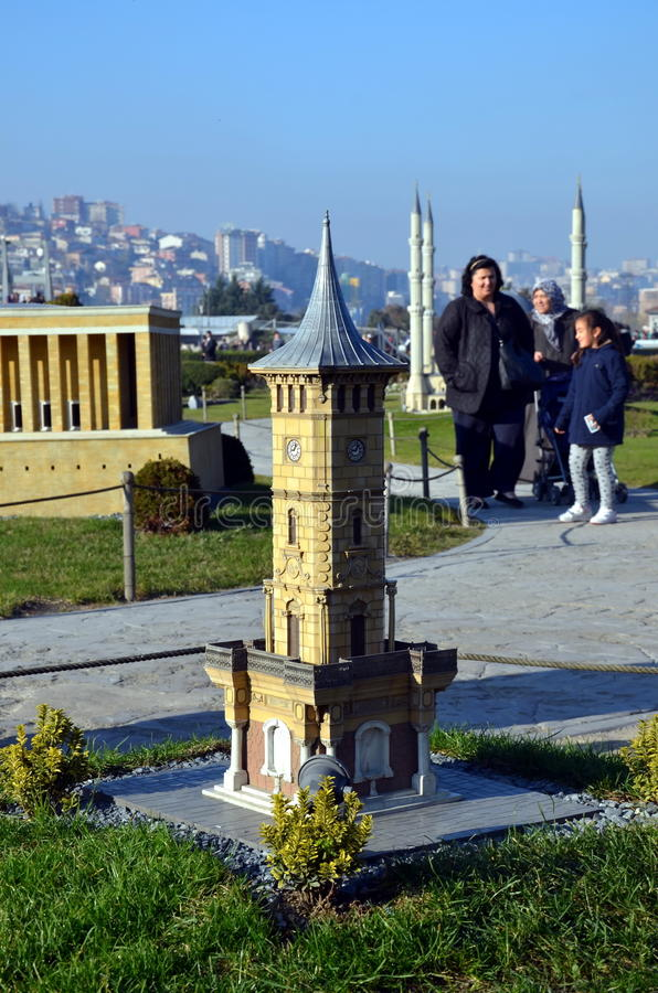 Scale model of clock tower in Izmit city. ISTANBUL, TURKEY - DEC 27, 2015 - Scale model of clock tower in Izmit city at Miniaturk park in Istanbul, the largest stock photos