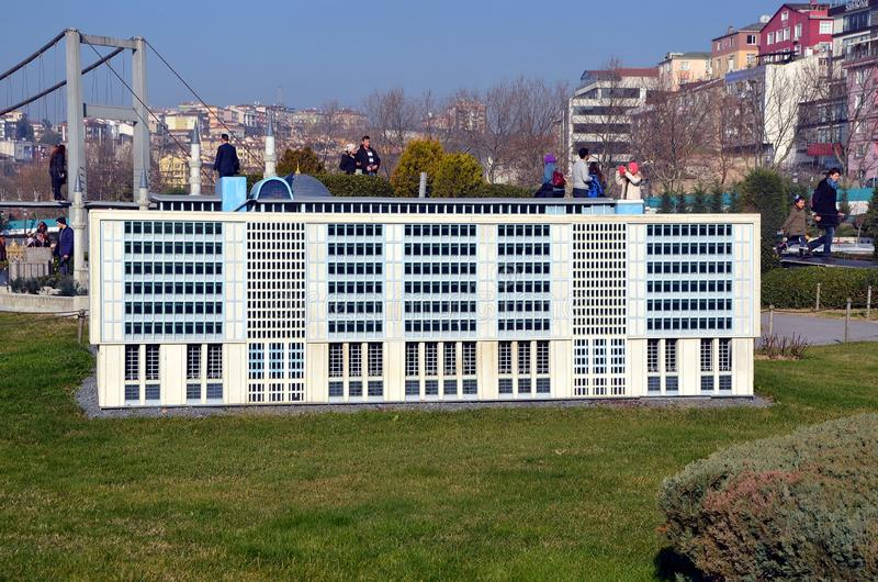 Scale model of Istanbul Metropolitan Municipality office building stock photos