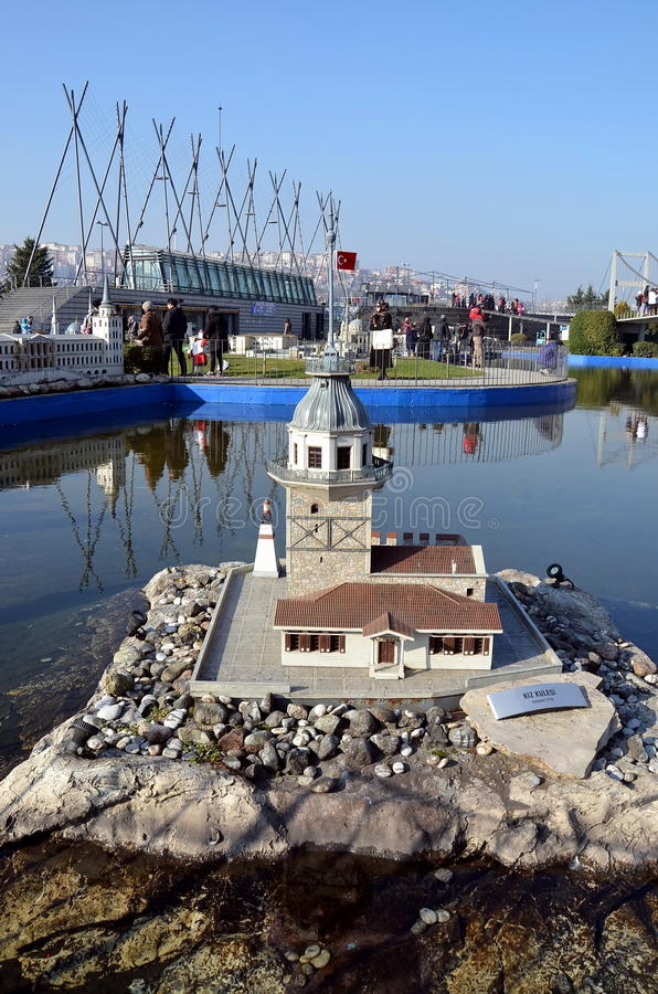 Scale model of Maiden's tower. ISTANBUL, TURKEY - DEC 27, 2015 - Scale model of Maiden's tower at Miniaturk park in Istanbul, the largest miniature park in the royalty free stock photo