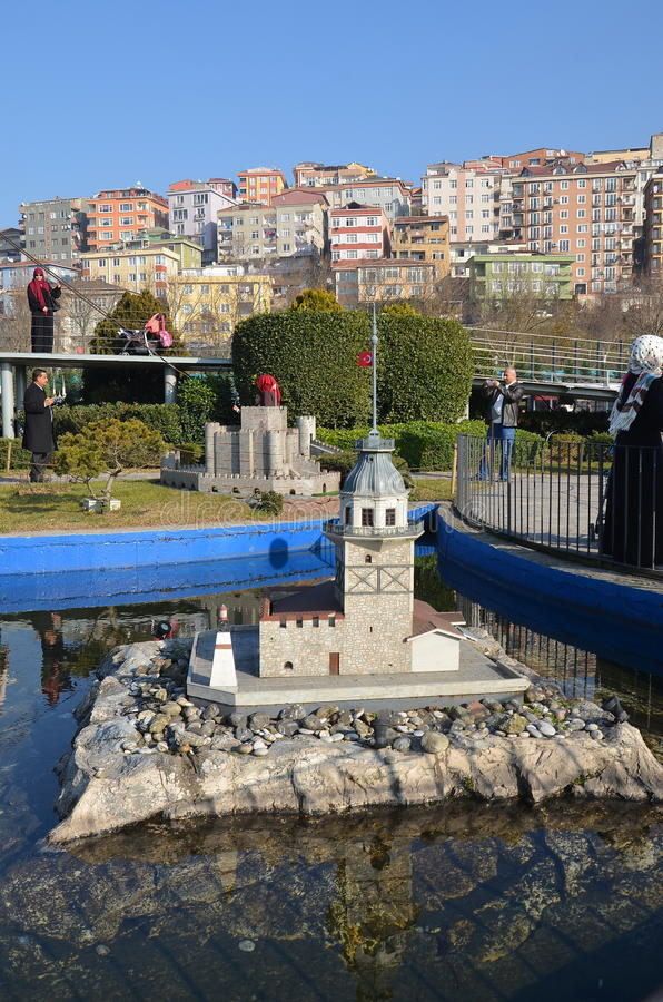 Scale model of Maiden`s tower. ISTANBUL, TURKEY - DEC 27, 2015 - Scale model of Maiden`s tower at Miniaturk park in Istanbul, the largest miniature park in the royalty free stock image