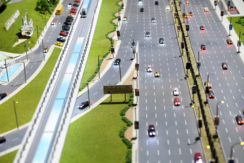 Scale model of a motorway in a city royalty free stock images