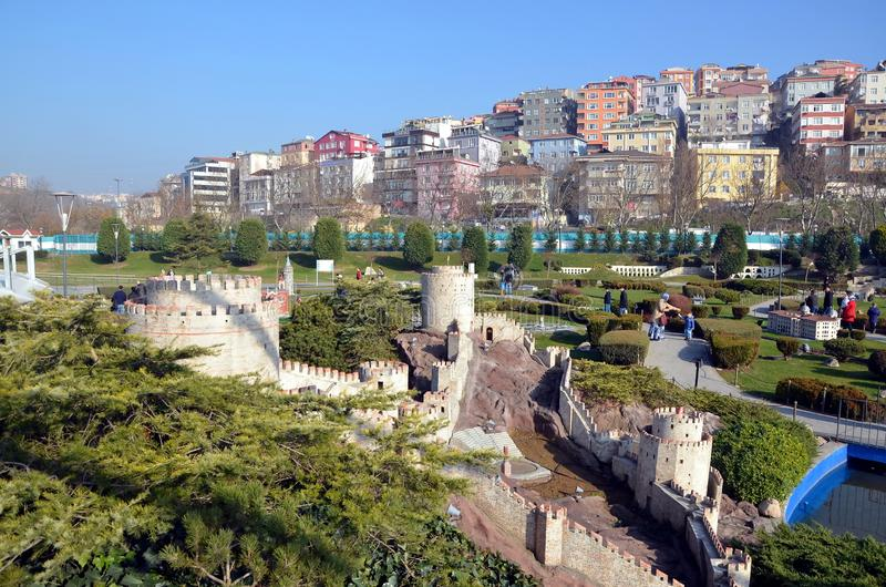 Scale model of Rumelihisar castle. ISTANBUL, TURKEY - DEC 27, 2015 - Scale model of Rumelihisari at Miniaturk park in Istanbul, the largest miniature park in the royalty free stock photo