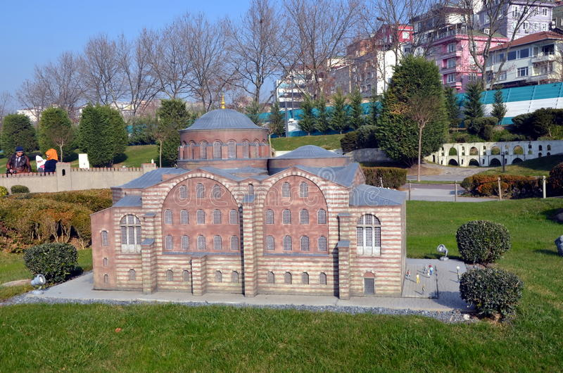Scale model of a Turkish bath or hamam. ISTANBUL, TURKEY - DEC 27, 2015 - Scale model of a Turkish bath or hamam at Miniaturk park in Istanbul, the largest stock image