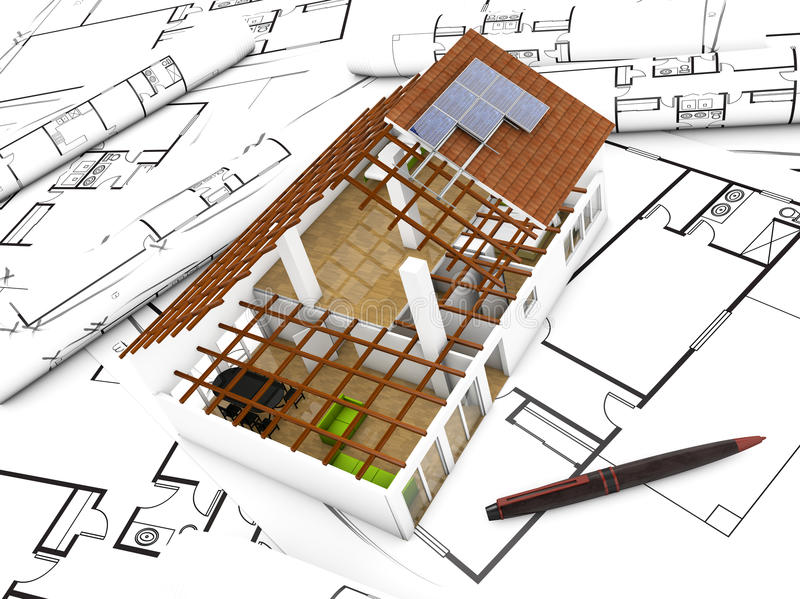 Scale model view. 3d render of a house over plots vector illustration