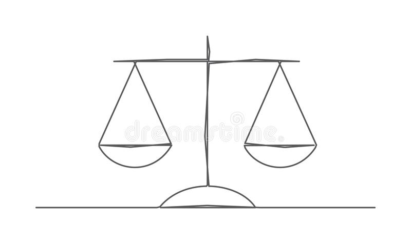 Scale One line drawing royalty free illustration