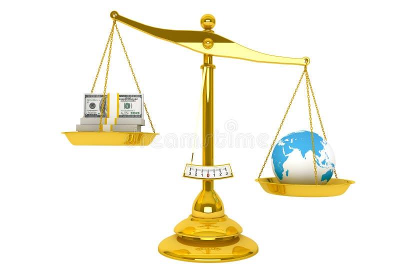 Scale, pengar och jordklot stock illustrationer