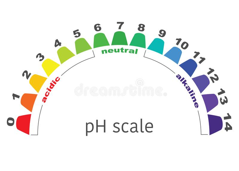 Scale of ph value for acid and alkaline solutions, stock illustration